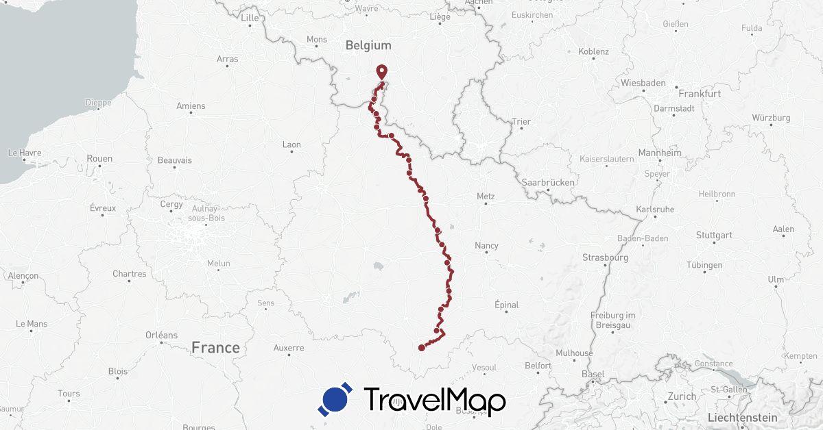 TravelMap itinerary: eurovelo 19 in France (Europe)