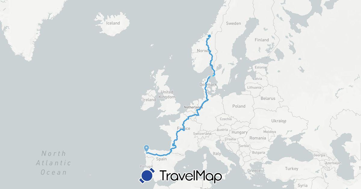 TravelMap itinerary: boat, eurovelo 3 in Belgium, Germany, Denmark, Spain, France, Norway, Sweden (Europe)