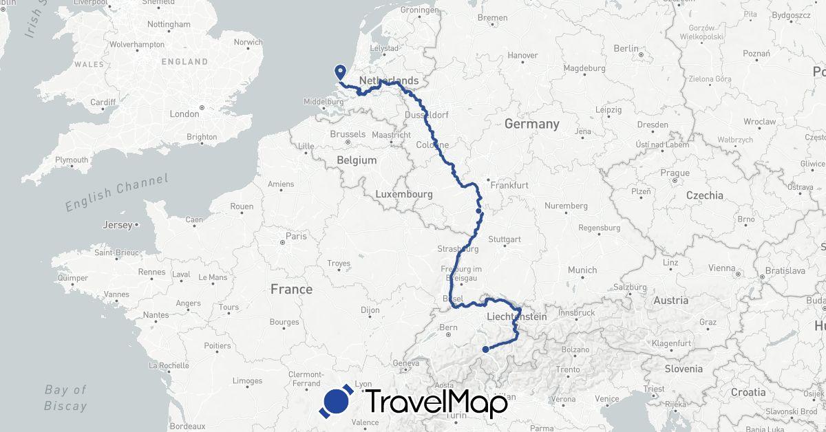 TravelMap itinerary: eurovelo 15 in Switzerland, Germany, Netherlands (Europe)